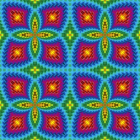 Pop art disco pattern with optic illusion and floral elements in vivid colors photo