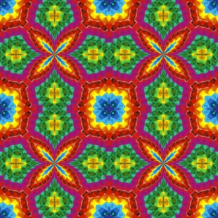 Pop art disco pattern with optic illusion and floral elements in vivid colors Stock Photo - 13614665