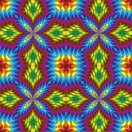 Pop art disco pattern with optic illusion and floral elements in vivid colors Stock Photo - 13614666