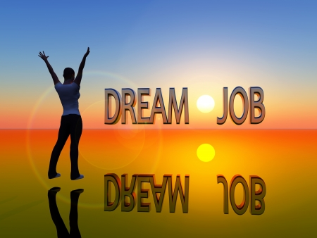Young woman is visualizing her dream job Standard-Bild