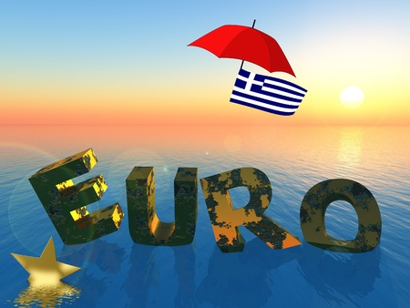 monetary devaluation: Greece and the Euro: symbol for the current crisis which affects the European Union and the financial markets worldwide Stock Photo