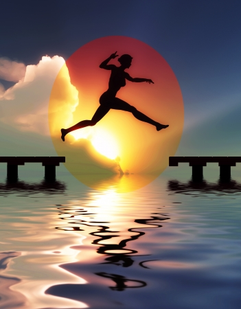 Woman jump through the gap   Symbol for success, freedom, happiness and self confidence