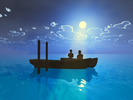 Love storey by night, two people in a boat  photo