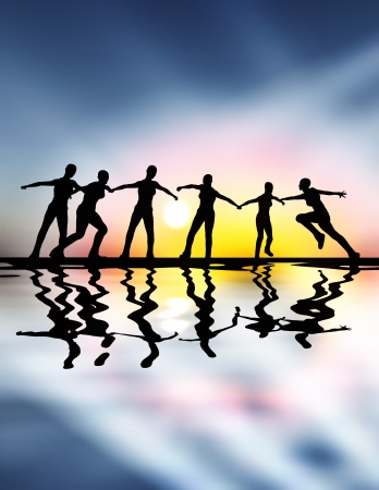 business concern: Team spirit, team work and leadership are important not only in difficult times Stock Photo