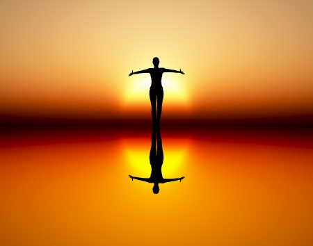 sun rising: Dancing girl in the rising sun as symbol for wealth, joy, elegance and success Stock Photo