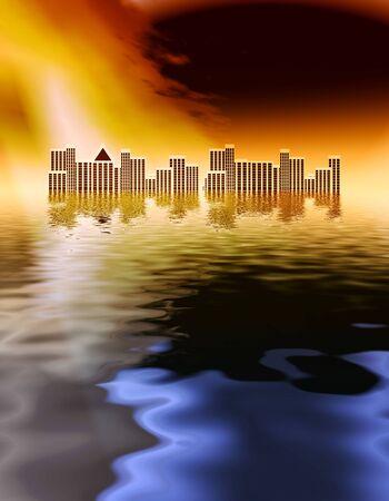 Apocalypse: tsunami after earthquake flooding city  photo