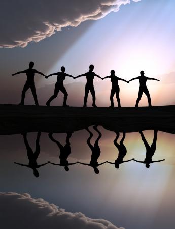 Illustration for teamwork, team spirit, vision and success Standard-Bild