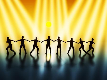 cohesion: Team spirit - leadership  Stock Photo