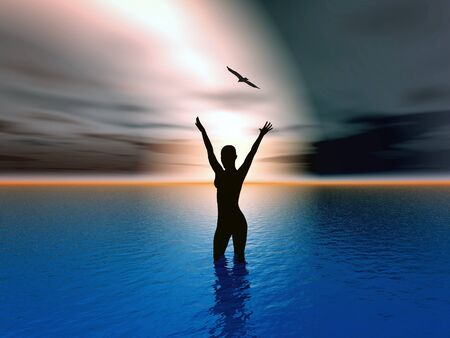worship praise: Woman rising her hands to heaven, expressing her strong feelings