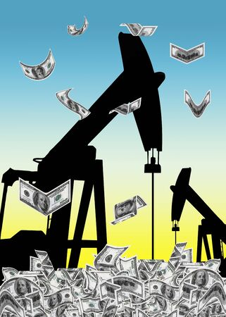 producing: Petrodollar  pump jack in the rising sun, digging  dollar from the ground as symbol for the oil business