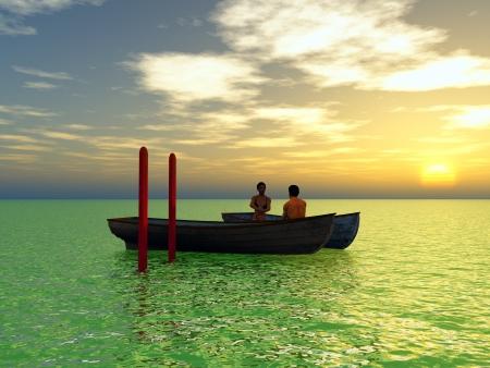 Young love couple enjoying the sunset  photo