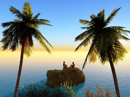 Young love couple enjoying the sunset at the beach