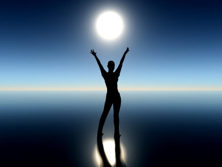 Girl dancing with rising moon  Фото со стока