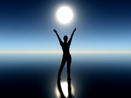 moonrise: Girl dancing with rising moon  Stock Photo