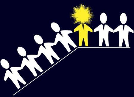 Concept van leiderschap, teamwork en voorbeeldfunctie
