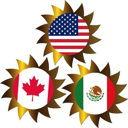 L'ALENA, Accord nord-am�ricain de libre-�change entre le Canada, le Mexique, Etats-Unis Banque d'images - 13910040