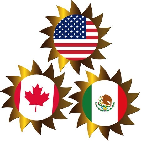 NAFTA, North American Free Trade Agreement between Canada, Mexico, USA photo