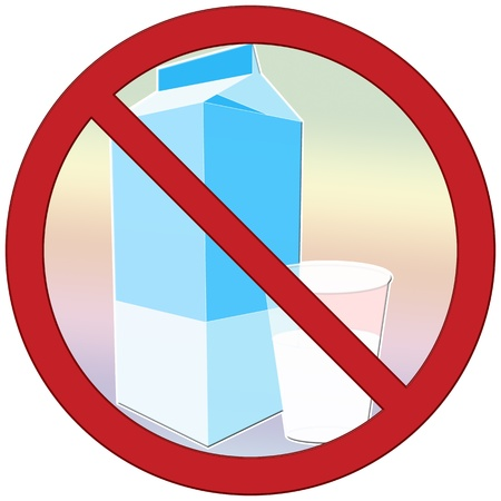 Symbol to describe lactose intolerance  avoid drinking milk Stock Photo - 14084943