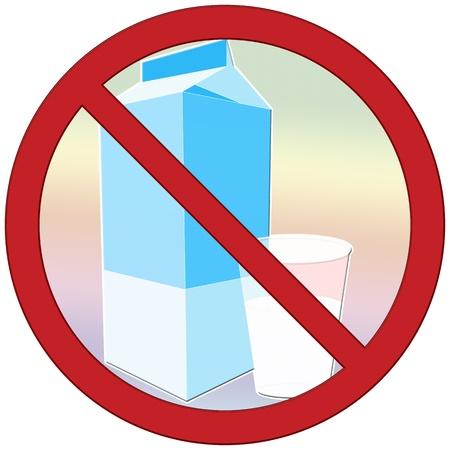 Symbol to describe lactose intolerance  avoid drinking milk