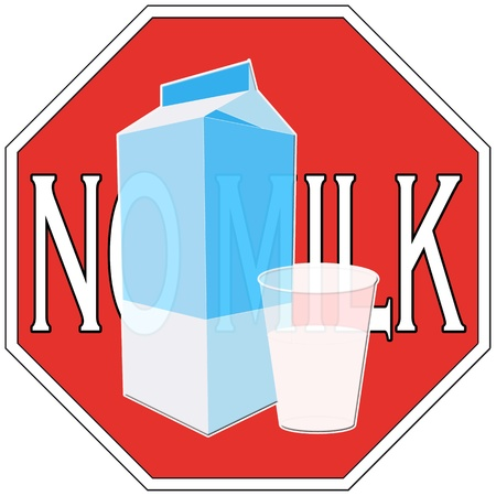 Symbol to describe lactose intolerance, keep off from milk photo