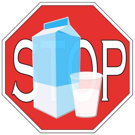 Symbol to describe lactose intolerance  Stop drinking milk Stock Photo - 14084939