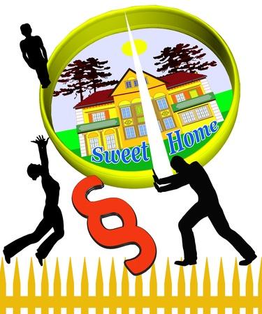 Divorce: Sweet home gets split when couples get divorced Stock Photo - 14184773