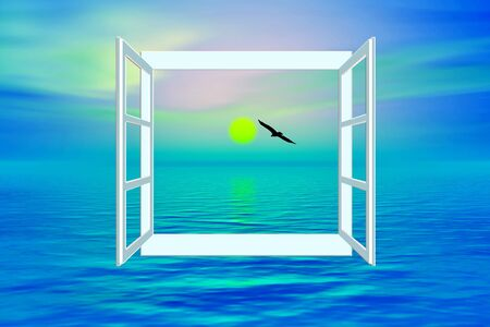 redemption: Salvation, ocean view through open window symbol for worship, desires and prayers