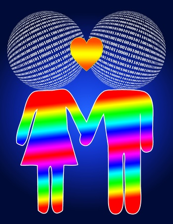 Cyber love through dating and chatting on the internet Stock Photo - 14238444