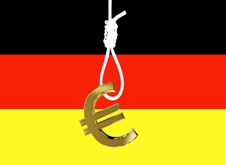 Germans fear that the country gets strangled by negative effects of the Euro crisis Stock Photo - 14938196