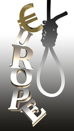EU-rope: play of words as a symbol for the recent development and the dark financial future Stock Photo - 14416995