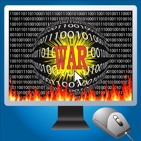 Cyberwarfare is a form of information warfare with the computer  photo