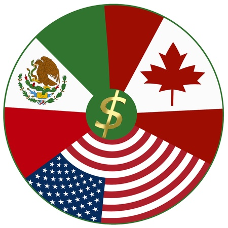 NAFTA, North American Free Trade Agreement between Canada, Mexico, USA Stock Photo - 14459700