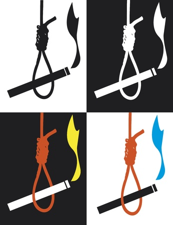 Quit smoking: cigarette as the hangman for smokers. Set of anti smoking symbols as health warning Vector