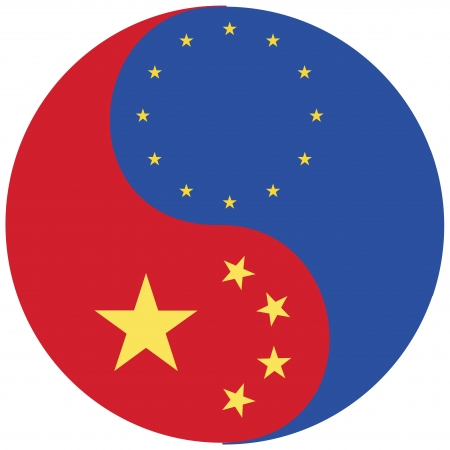 China and the EU, symbol for the strong relationship between the European Union and China Stock Photo - 14598860
