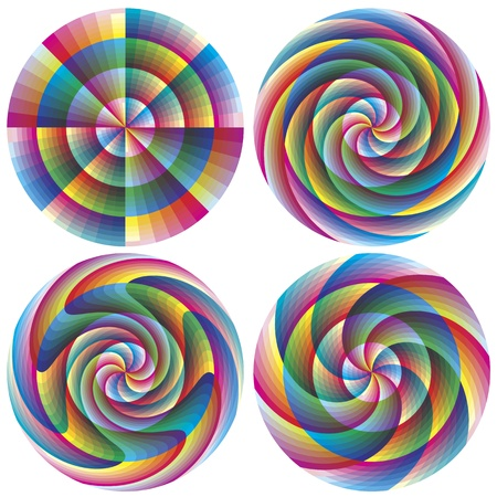 shui: Set di magici cerchi vettoriali geometrici in colori vivaci e brillanti per le imprese, la meditazione, decorazione, feng shui