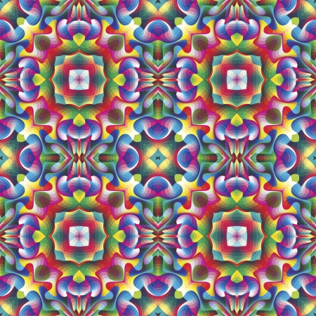 Seamless arabesque mosaic in art deco and vivid rainbow colors  Vector