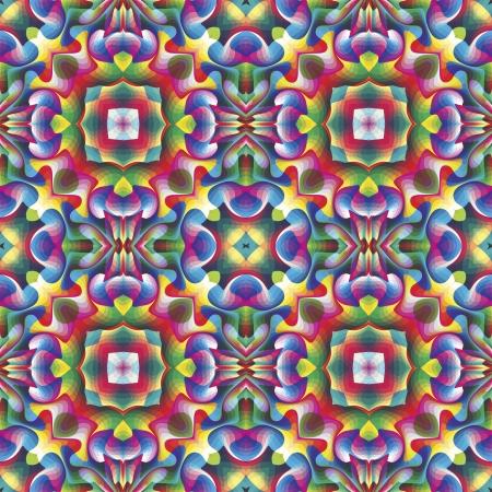 vivid colors: Seamless arabesque mosaic in art deco and vivid rainbow colors  Illustration