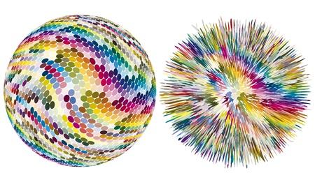 aerografo: Color de explosi�n. Esfera art�stica vector con los puntos est� explotando en cientos de colores diferentes