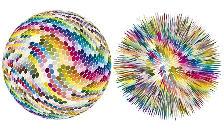 Color explosion. Artistic vector sphere with dots is exploding in hundreds of different colors Stock Vector - 15364975