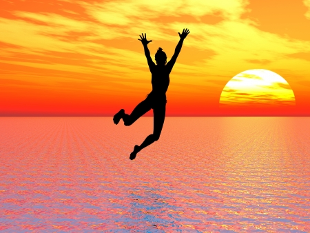 self confidence: I believe I can fly; young woman jumps into the ocean a symbol for courage, self confidence and success: I can make it!