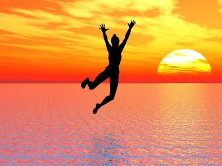 Ik geloof dat ik kan vliegen; jonge vrouw springt in de oceaan een symbool voor moed, zelfvertrouwen en succes: ik kan het!
