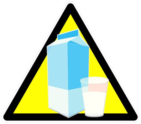 describe: Caution sign with a glass of milk to describe lactose intolerance