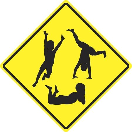 Caution kids playing; traffic sign to slow down and to be aware of playing children ahead Stock Photo - 15650523