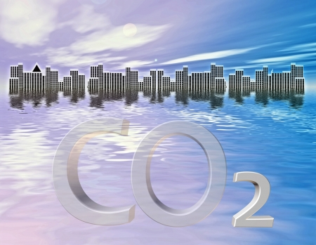 submersion: City submerged! CO2 increase cause progressing climate change and natural disasters like floods Stock Photo