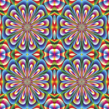 sophisticated: Seamless arabesque mosaic in art deco style. Sophisticated floral vector pattern in vivid and brilliant rainbow colors