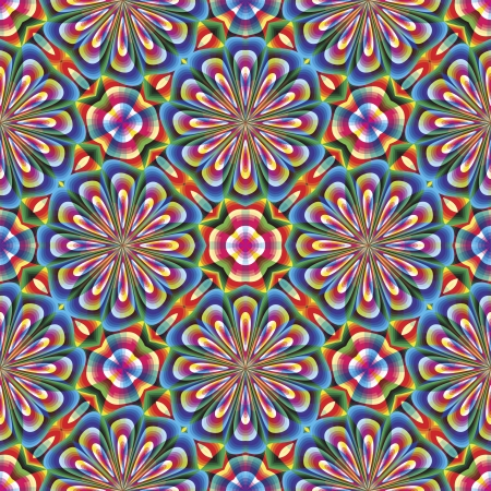 round: Seamless arabesque mosaic in art deco style. Sophisticated floral vector pattern in vivid and brilliant rainbow colors