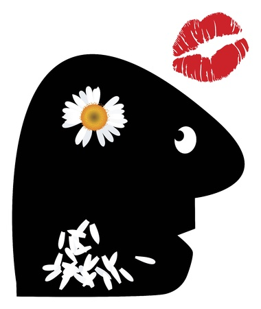 Loves me loves me not. Man is pulling out petals of a daisy in his head photo