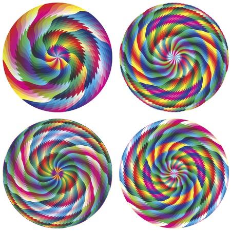 brilliant colors: Conjunto de c�rculos m�gicos de vectores geom�tricos en colores vivos y brillantes para los negocios, la meditaci�n, la decoraci�n, el feng shui Vectores