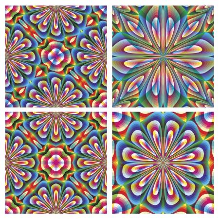 jugendstil: Set of seamless arabesque vector pattern in art deco style Illustration