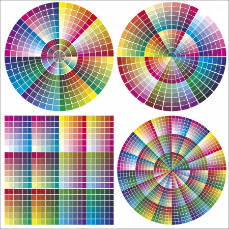 printing business: Color charts for calibration and printing business, same colors only differently organized